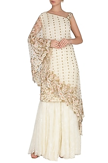 Ivory Sharara Set With Net Cape by Rabani & Rakha