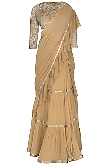 Gold Embroidered Saree Set by Rabani & Rakha
