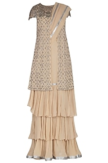 Nude Embroidered Saree Set With Jacket by Rabani & Rakha