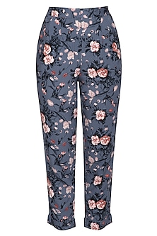 Blue floral trouser pants