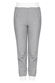 Grey and white trouser pants