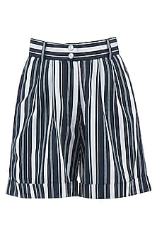 Navy Blue and White Striped High Waist Shorts