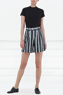 Navy Blue and White Striped High Waist Shorts by Renge
