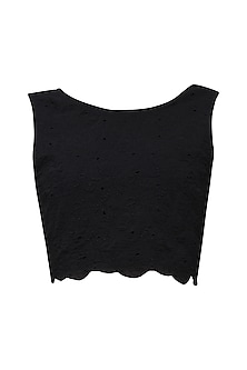 Black Embroidered Crop Top by Renge