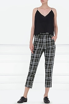 Dark Green and White Checked Trousers by Renge