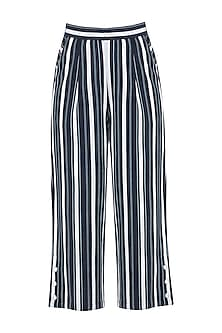 Navy Blue and White Striped Culotte Trousers