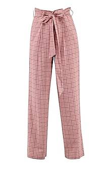 Peach Checked Wide Leg Trousers by Renge