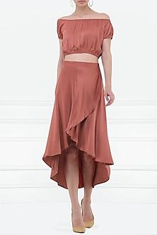 Burnt Red Asymmetrical Skirt by Renge