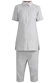 Grey Shirt With Trouser Pants by Ruchira Nangalia