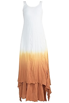 White Ombre Gaga Tunic With Skirt by Ruchira Nangalia