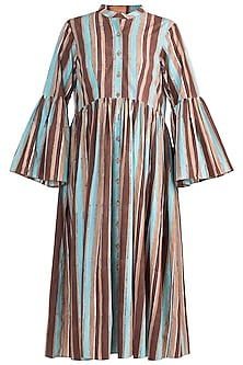 Multicolored Striped Button Down Dress by Ruchira Nangalia