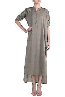 Charcoal Grey High-Low Tunic Dress by Ruchira Nangalia