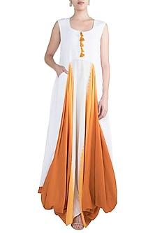 White Cowled Gaga Dress by Ruchira Nangalia
