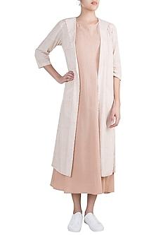 Blush Pink Layered Dress With Jacket by Ruchira Nangalia