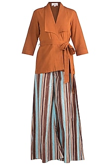 Ochre Brown Roped Top With Culotte Pants by Ruchira Nangalia