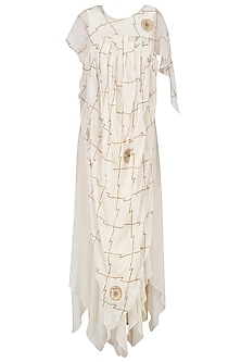 Ivory Gota Patti Embroidered Drape Gown
