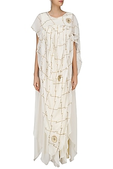 4d9cb1e4129 Ivory gota patti embroidered drape gown available only at Pernia s Pop Up  Shop.