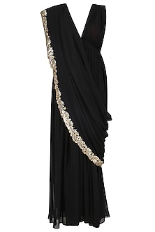 Black Embroidered Saree Gown with Maroon Blouse