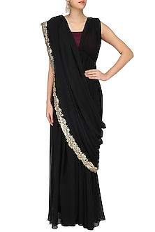 Black Embroidered Saree Gown with Maroon Blouse by Ruchira Nangalia