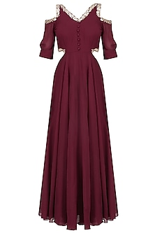 Marsala Red Gota Embroidered Cold Shoulder Gown by Ruchira Nangalia