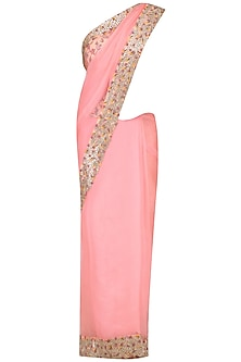 Pink Thread Work Saree with Salmon Pink Floral Printed Blouse