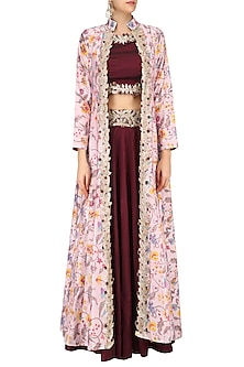 3bfc32663b3 Marsala red gota embroidered crop top and skirt with off white printed  jacket available only at Pernia s Pop Up Shop.