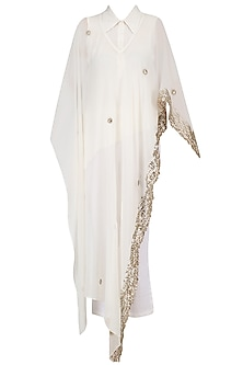 Ivory Embroidered Cape, Shirt and Pants Set