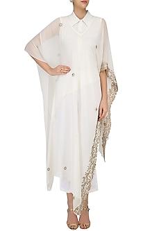 Ivory Embroidered Cape, Shirt and Pants Set by Ruchira Nangalia
