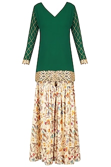 Emerald Green Embroidered Short Kurta with Off White Floral Print Garara Pants