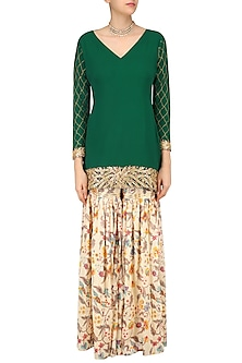 a78577acf86 Emerald Green Embroidered Short Kurta with Off White Floral Print Garara  Pants by Ruchira Nangalia