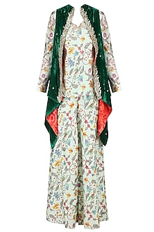 Mint Green Floral Printed Top and Bell Bottoms with Front Open Embroidered Jacket