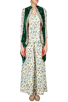 Mint Green Floral Printed Top and Bell Bottoms with Front Open Embroidered Jacket by Ruchira Nangalia