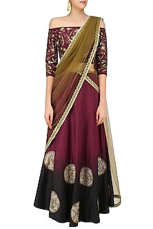 Maroon Embroidered Motifs Off Shoulder Top and Skirt Set by Ruchira Nangalia
