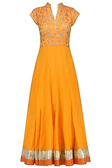 Yellow Zari and Sequins Embroidered Anarkali Set by RANG by Manjula Soni