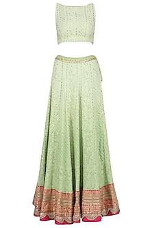Sea Green and Pink Chikankari Embroidered Lehenga Set