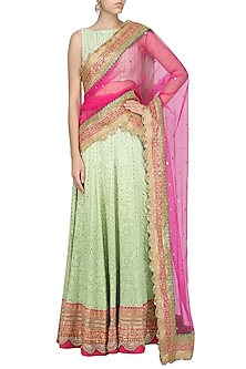 Sea Green and Pink Chikankari Embroidered Lehenga Set by RANG by Manjula Soni