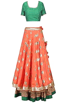 Red Embroidered Banarasi Lehenga Set by RANG by Manjula Soni