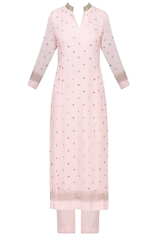 Pale Pink Sequins Embroidered Kurta with Pants Set