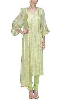 Pale Green Gota Work Kurta Set by RANG by Manjula Soni