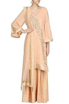 Peach Embroidered Kurta with Sharara Pants Set by RANG by Manjula Soni