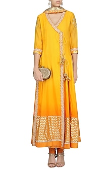 Yellow Ombre Embroidered Angrakha Anarkali Set by RANG by Manjula Soni