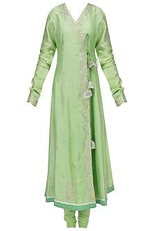 Green Embroidered Angrakha Anarkali Set