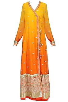 Yellow To Rust Ombre Embroidered Angrakha Anarkali Set by RANG by Manjula Soni
