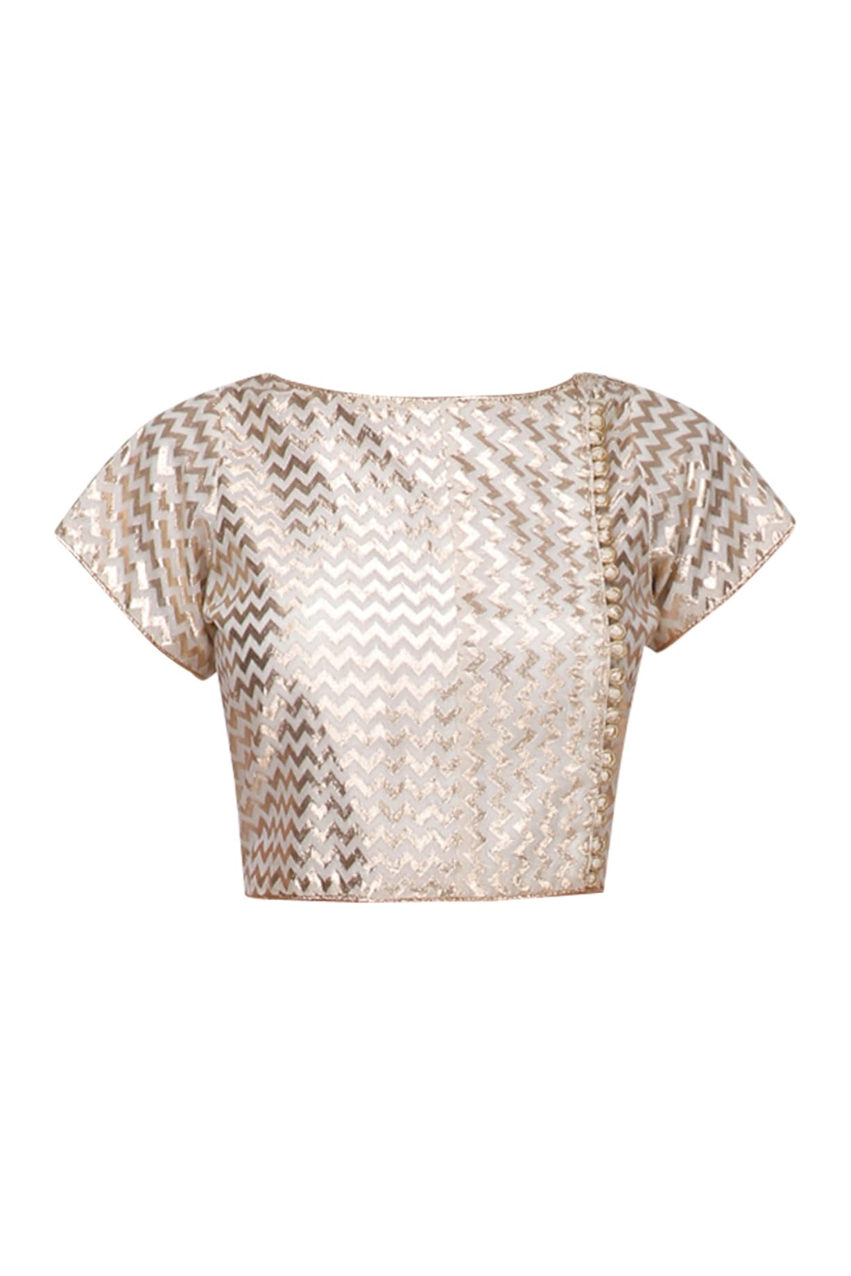 44b9dd1c1388e8 Cream and gold embroidered crop top available only at Pernia s Pop Up Shop.