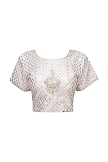 Cream and Gold Embroidered Crop Top