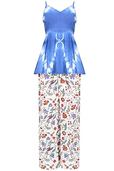 Indigo Tye And Dye Peplum Top And Block Print Pants Set by Ruchira Nangalia