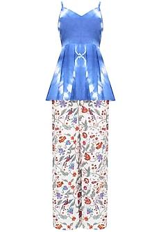 Indigo Tye And Dye Peplum Top And Block Print Pants Set by Ruchira Nangalia