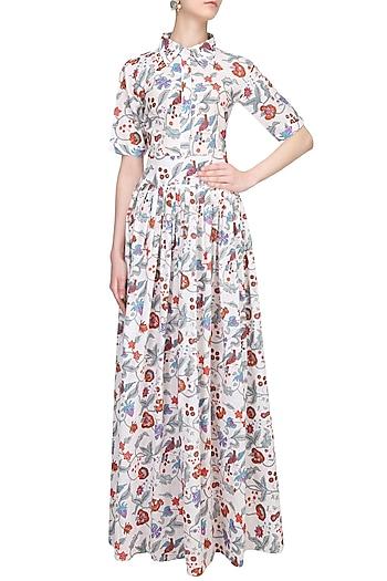 Indigo Floral Block Printed Shirt Maxi Dress by Ruchira Nangalia