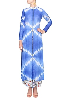 Indigo Tye And Dye Tunic And Block Print Wide Legged Pants Set by Ruchira Nangalia
