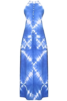 Indigo Tye And Dye Long Dress And Straight Pants Set